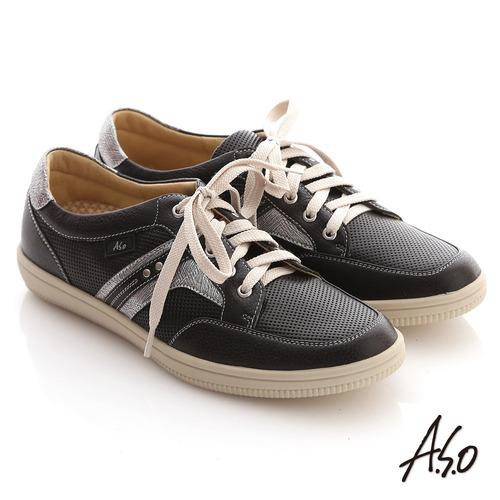 A.S.O 輕量勁步 沖孔金屬感綁帶休閒平底鞋(黑)