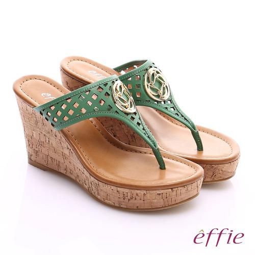 effie 摩登美型 真皮鏤空大釦飾Y字楔型拖鞋(綠)