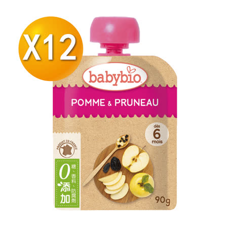 法國Babybio 生機 蘋果黑棗纖果泥90gX12
