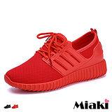 【Miaki】慢跑鞋韓運動風透氣綁帶厚底包鞋 (紅色 / 黑色)