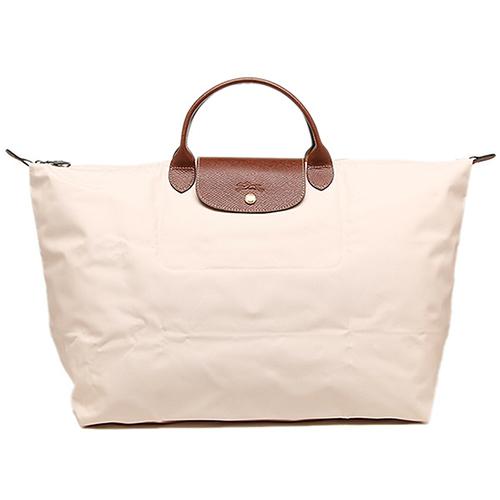 Longchamp 經典高彩度可摺疊水餃包 _ 短把/大型旅用/象牙色