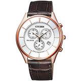 CITIZEN Eco-Drive 光動能都會時尚三眼皮革優質腕錶-玫瑰金-AT2362-02A