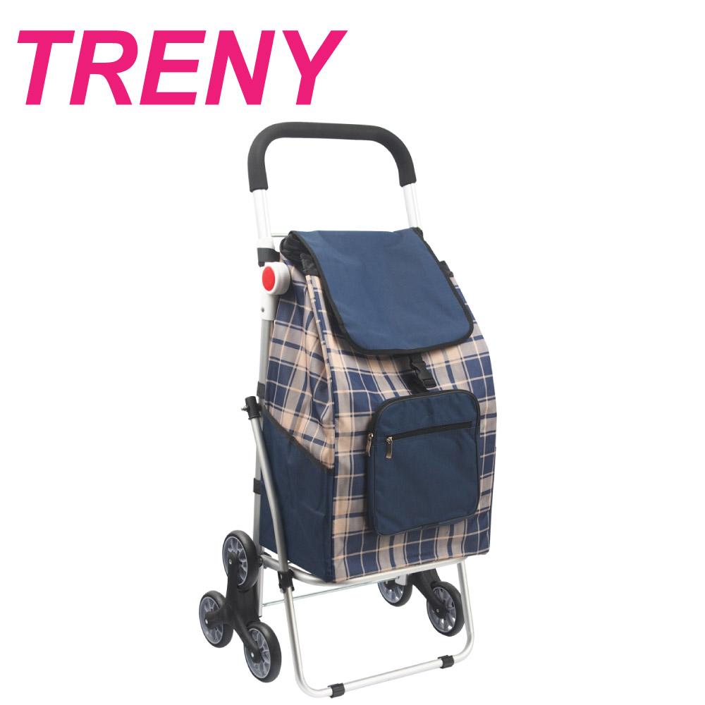 TRENY 鋁合金購物車 - 藍格 ( 菜籃車 )