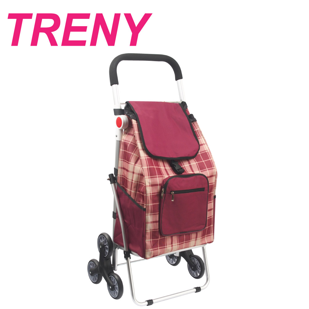 TRENY 鋁合金購物車 - 紅格  ( 菜籃車 )