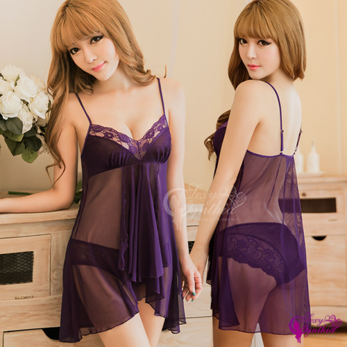【Sexy Cynthia】性感睡衣 魅紫薄紗透視二件式睡衣