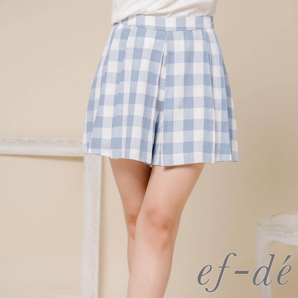 【ef-de】激安 夏季格紋短褲裙(藍)