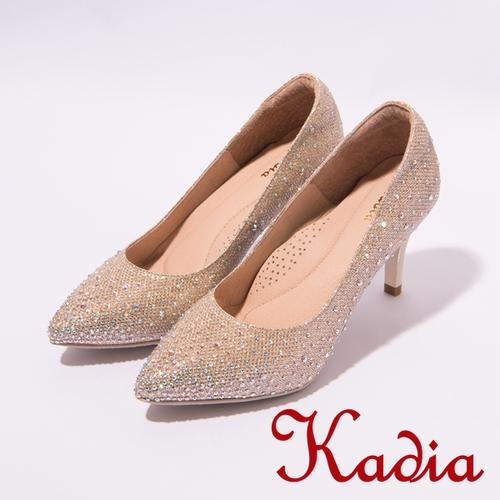 kadia.華麗響宴 璀璨鑽金屬感尖頭高跟鞋(金7001-25)