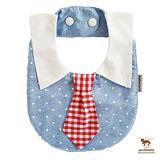 泰國 Puchimama 純棉領帶造型圍兜兜 (藍點-紅色方格)