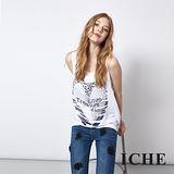 ICHE 衣哲 愛心豹紋印花兩件式長版造型上衣