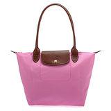 Longchamp 長提把小型水餃包-粉紅色
