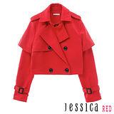 JESSICA RED-短板風衣式外套(紅)