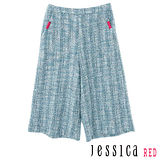 JESSICA RED-混色菱格紋修身五分褲(藍)