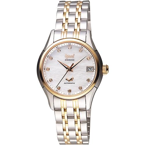 Ogival 愛其華 旗鑑真鑽經典機械腕錶-白貝x雙色版/34mm 3356AJBSR