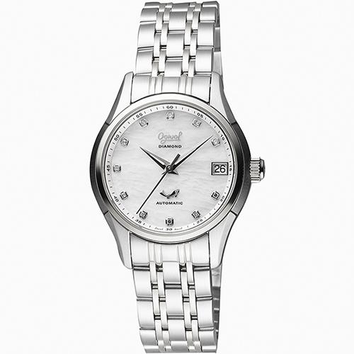 Ogival 愛其華 旗鑑真鑽經典機械腕錶-白貝x銀/34mm 3356AJBS