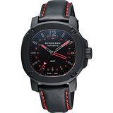 BURBERRY The Britain GMT 英倫時尚機械腕錶-黑x紅/43mm BBY1351