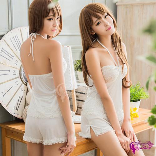 【Sexy Cynthia】性感睡衣 純白柔緞蕾絲綁脖式二件式睡衣