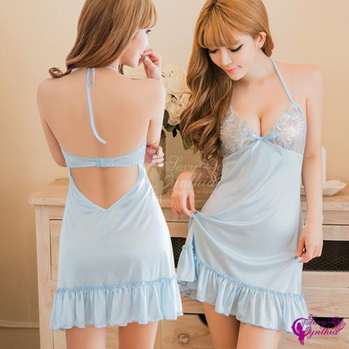 【Sexy Cynthia】性感睡衣 夢幻水藍綁脖美背柔緞睡衣