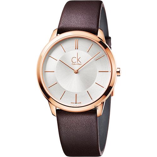 Calvin Klein CK Minimal 極簡時尚腕錶-銀x玫瑰金框/40mm K3M216G6