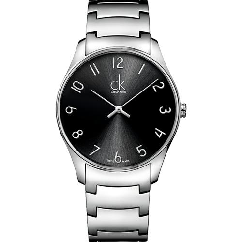 Calvin Klein CK Classic 極簡經典腕錶-黑x銀/38mm K4D2114X