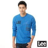 Lee 長袖T恤 拼接字樣幾何印刷-男款(亮藍)