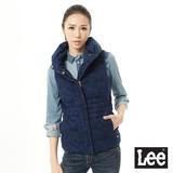 Lee 羽絨背心外套 迷彩緹花高領 -女款 藍