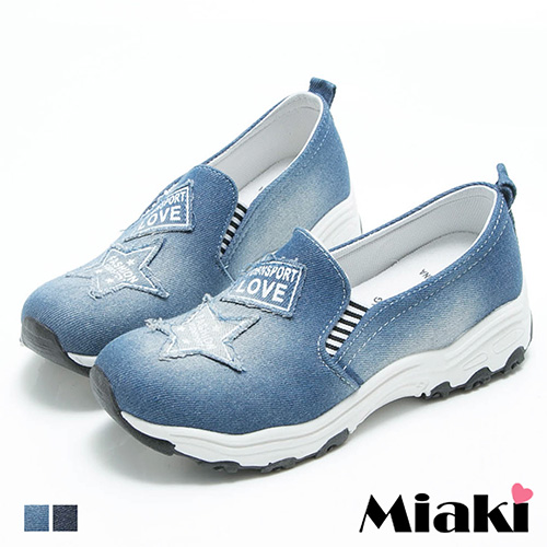 【Miaki】休閒鞋韓牛仔布刷破星星舒適厚底懶人包鞋 (深藍 / 淺藍)