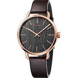 Calvin Klein CK Even 超然木質時尚腕錶-灰/42mm K7B216G3