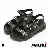 【Miaki】MIT 涼鞋歐美簡約鏤空金屬釦厚底涼拖 (白色 / 黑色)