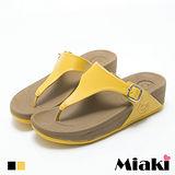 【Miaki】涼鞋韓簡約皮感金屬釦坡跟夾腳涼拖 (白色 / 黃色)