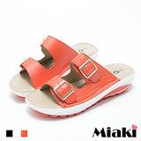 【Miaki】涼鞋美式簡約雙金屬釦露趾坡跟涼拖 (白色 / 橘色 / 黑色)