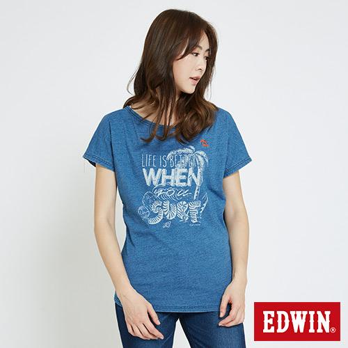 EDWIN 椰林海洋風寬版T恤-女-淺藍色