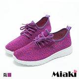 【Miaki】休閒鞋美式潮流混織厚底綁帶包鞋 (紫紅色 / 黑色)