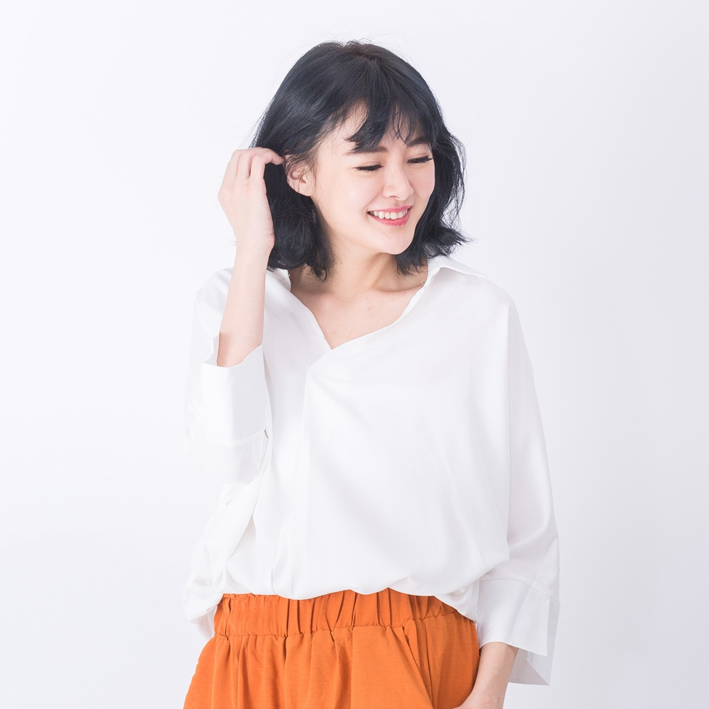 【Stoney.ax】韓版魅力 輕鬆百搭V領七分袖襯衣-白色