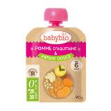 ✪法國Babybio 有機蘋果甜薯纖果泥✪90g