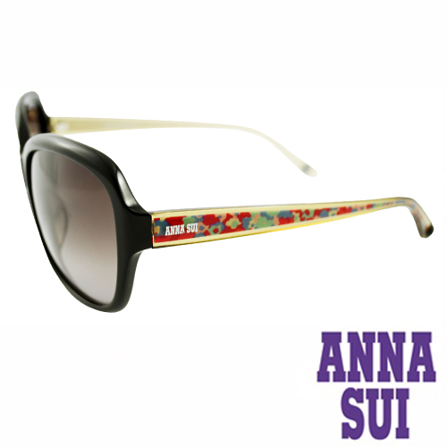 Anna Sui 日本安娜蘇波希米亞復古印花太陽眼鏡禮盒組(黑黃)AS940-001