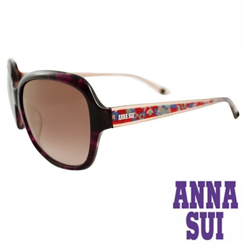 Anna Sui 日本安娜蘇波希米亞復古印花太陽眼鏡禮盒組(紫紅)AS940-702