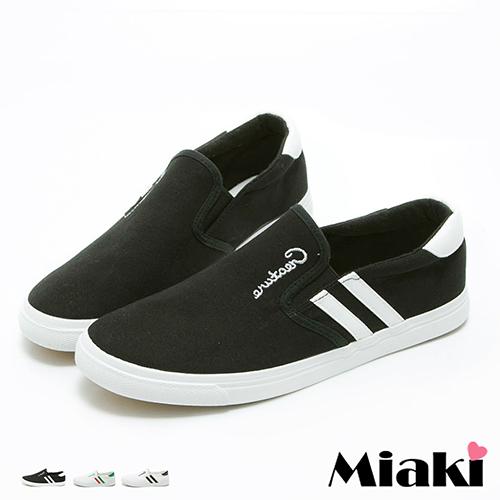 【Miaki】休閒鞋美式經典復刻雙條紋平底懶人包鞋 (白綠 / 白黑/ 黑色)