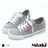 【Miaki】休閒鞋美式經典復古百搭帆布綁帶包鞋 (灰色 / 白色 / 黑色)