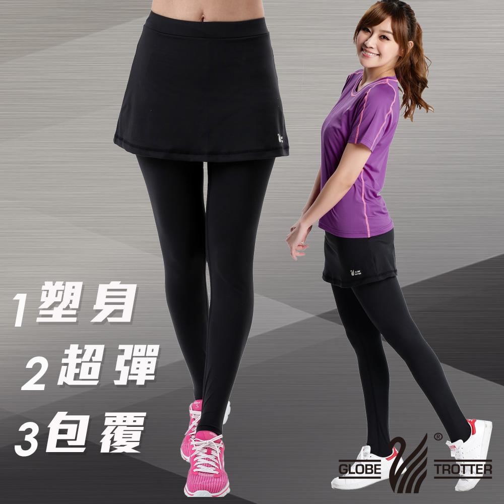 【遊遍天下】MIT台灣製3D彈力塑身假兩件式壓力褲P112黑色