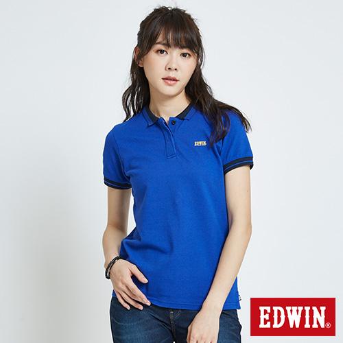 EDWIN 配色領短袖POLO衫-女-藍色