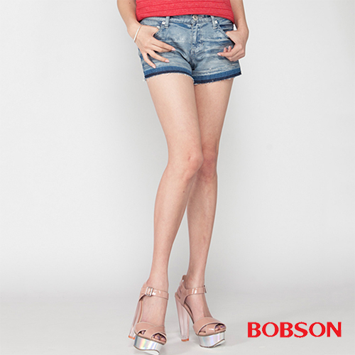 BOBSON 女款塗刷銀蔥牛仔短褲  (204-58)
