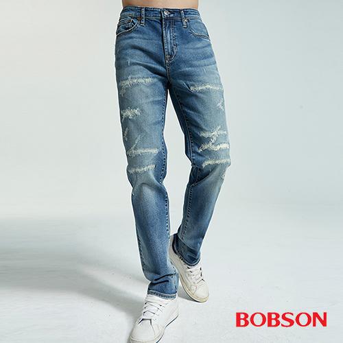 BOBSON  男款低腰有機棉補丁直筒褲(1832-53)