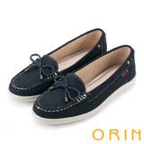 ORIN 復刻經典 嚴選高優質牛皮綁帶帆船鞋-絨藍