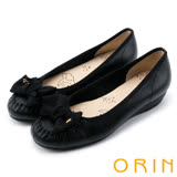 ORIN 甜美舒適 立體織帶蝴蝶結牛皮娃娃鞋-黑色