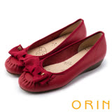 ORIN 甜美舒適 立體織帶蝴蝶結牛皮娃娃鞋-紅色