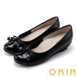 ORIN 氣質甜美風 蝴蝶結流蘇經典牛皮低跟鞋-黑色