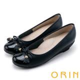 ORIN 氣質甜美風 蝴蝶結流蘇經典牛皮低跟鞋-藍色