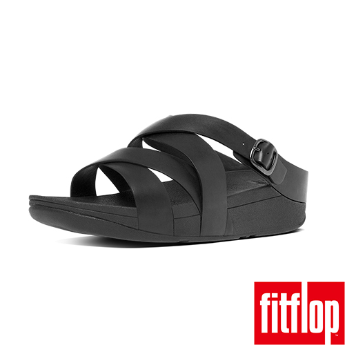 FitFlop™-(女款)THE SKINNY™ CRISS-CROSS LEATHER SLIDE-黑色