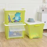 【+O 家窩】艾森層疊前開兩用收納箱(65L加大款)-透綠3入組