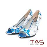 TAS 印花金屬飾片魚口高跟鞋-玩美藍